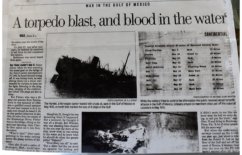 A Norwegian ship sinks in the Gulf of Mexico in 1942 in The Times Picayune