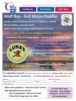 Flyer for July 14, 2019 Full Moon Paddle fundraiser for City of Orange Beach Relay for Life team