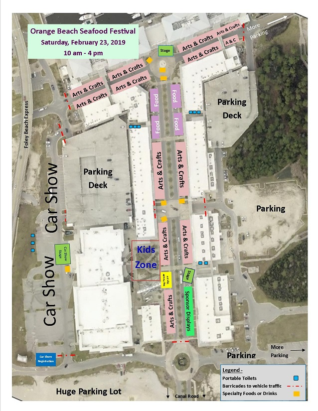 Festival map for the 2019 Orange Beach Seafood Festival and Car Show