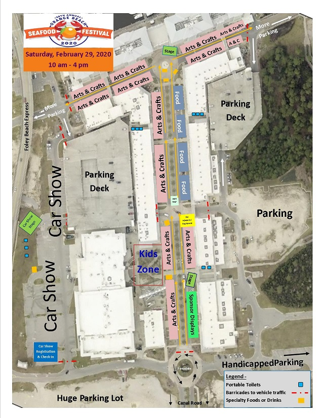 2020 map of Annual Orange Beach Seafood Festival and Car Show
