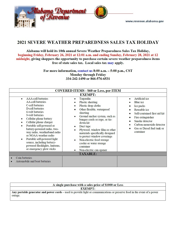 2021 Severe Weather Preparedness Tax Holiday flyer