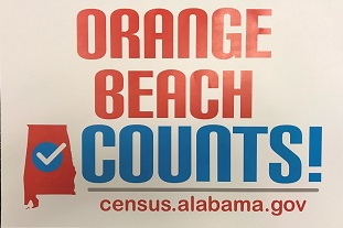 Orange Beach County sign for Census 2020 outreach