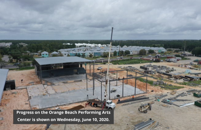 Orange Beach Performing Arts Center construction, June 2020