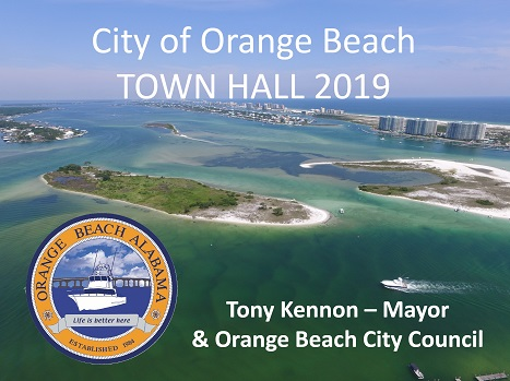 Cover of the 2019 City of Orange Beach Town Hall presentation