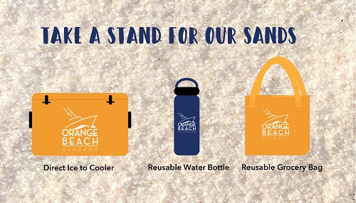 Take a Stand for Our Sand banner promoting reduced plastic use
