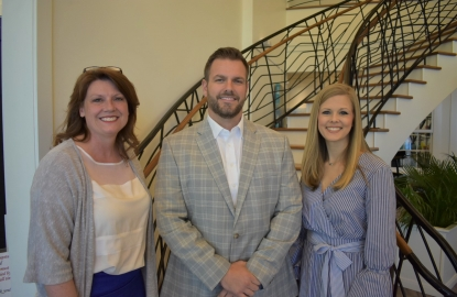 New OBHS Football Coach/AD is shown with OBMS Principal Robbie Smith, left, and OBHS Principal Erika McCoy.
