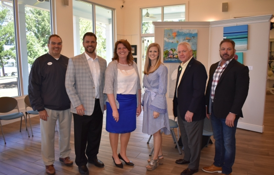 From left, are Orange Beach City Administrator Ken Grimes, OBHS Football Coach/AD Chase Smith, OBMS Principal Robbie Smith, OBHS Principal Erika McCoy, Baldwin County Schools Superintendent Eddie Tyler and Orange Beach Mayor Tony Kennon.