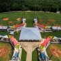 City of Orange Beach aerial showing upgraded Fields 9-12 for baseball and softball with shades for spectators, new dugouts and backstop netting