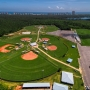 City of Orange Beach Sportsplex aerial looking south with the Gulf of Mexico and condos in the background