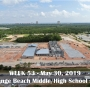 Week 53 aerial photo of Orange Beach school construction site on Canal Road, May 30, 2019