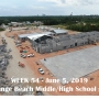 Week 54 aerial photo of Orange Beach school construction site on Canal Road, June 5, 2019