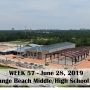 Week 57 aerial photo of Orange Beach school construction site on Canal Road, June 28, 2019
