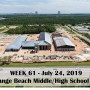 Week 61 aerial photo of Orange Beach school construction site on Canal Road, July 24, 2019
