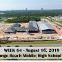 Week 64 aerial photo of Orange Beach school construction site on Canal Road, August 16, 2019