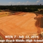 Week 7 aerial photo of Orange Beach school construction site, July 13, 2018