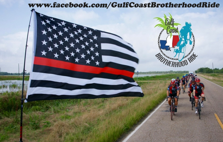 Graphic showing bicyclists taking part in the 2019 Gulf Coast Brotherhood Ride