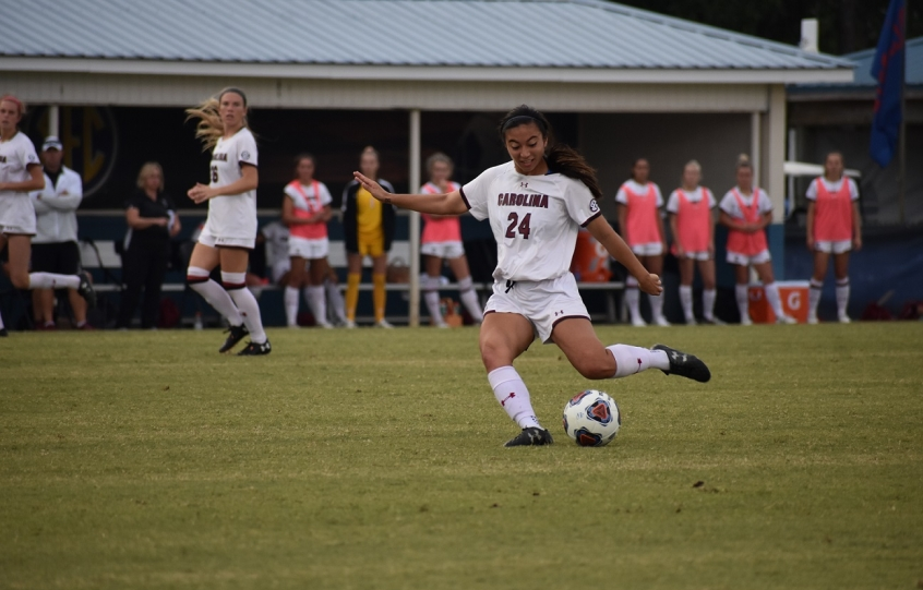 A South Carolina women's soccer player kicks the ball during the 2019 SEC Championship in Orange Beach, Alabama
