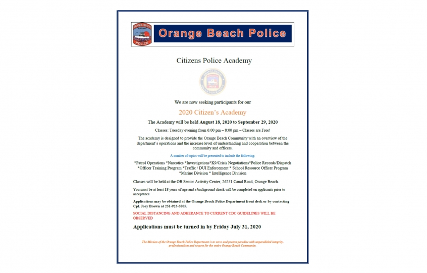 OBPD 2020 Citizens' Police Academy registration open till July 31st