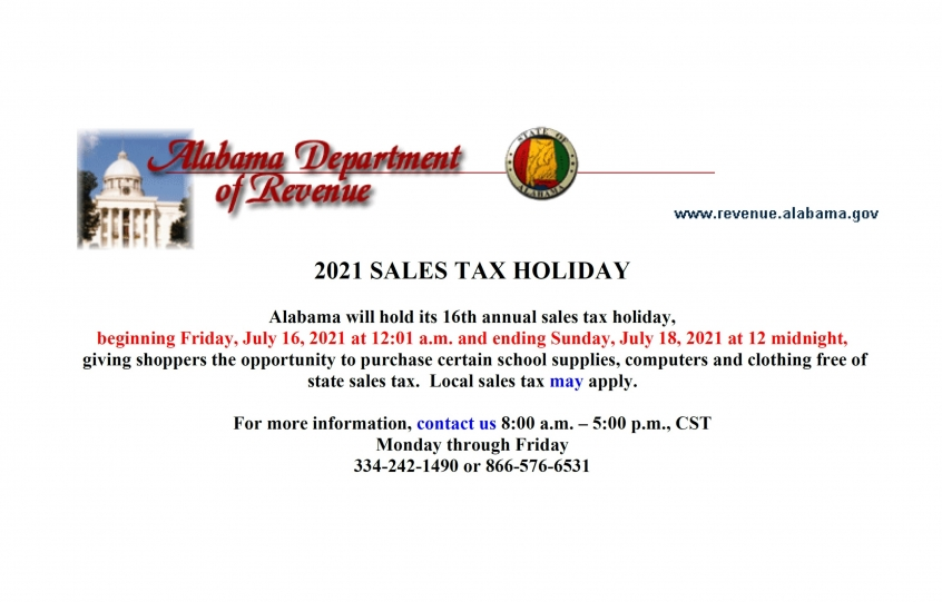 2021 Back-to-School Sales Tax Holiday weekend set for July 16-18