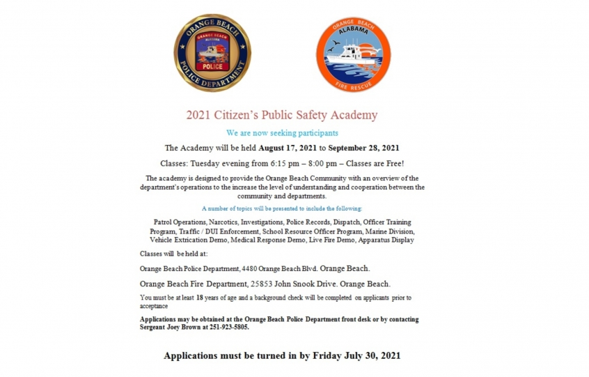 2021 Orange Beach Citizens' Public Safety Academy set for August 17 to September 28; application deadline is July 30