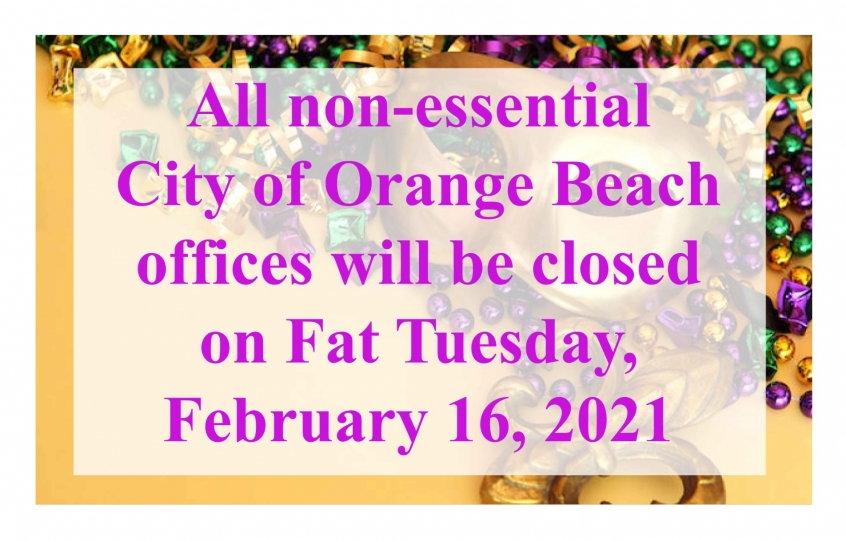 City office closing graphic for 2021 Mardi Gras holiday