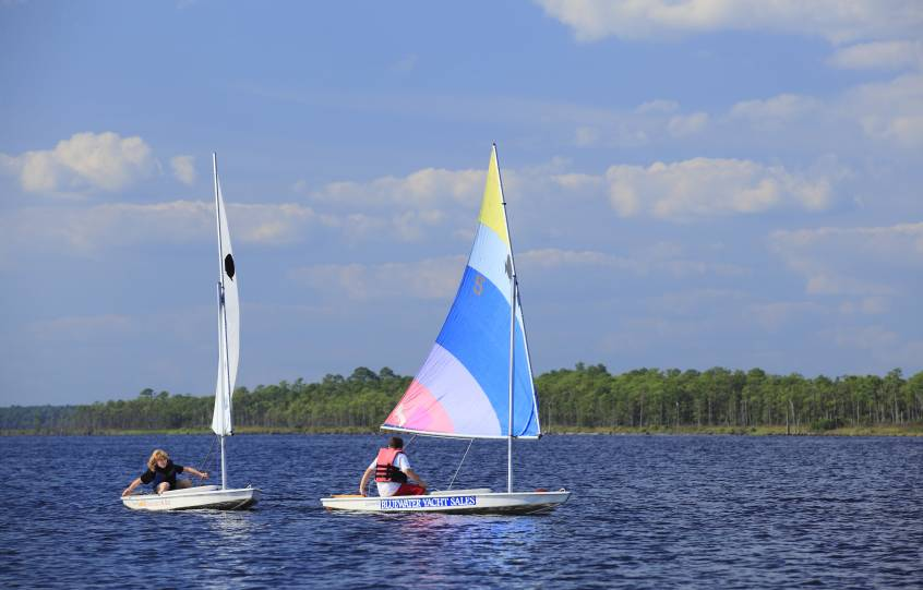 Sunfish Sailboats Race part of City of Orange Beach Wind & Water Learning Center sail camp