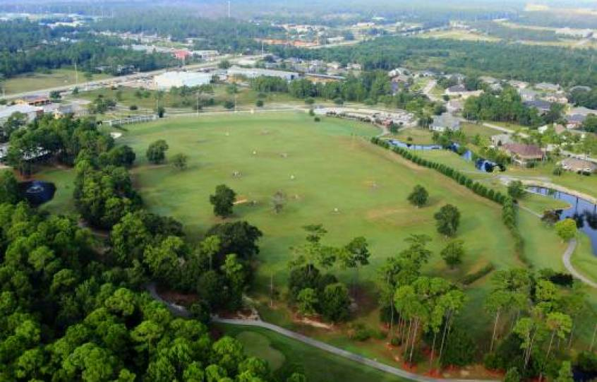 Orange Beach Golf Center aerial showing the driving range