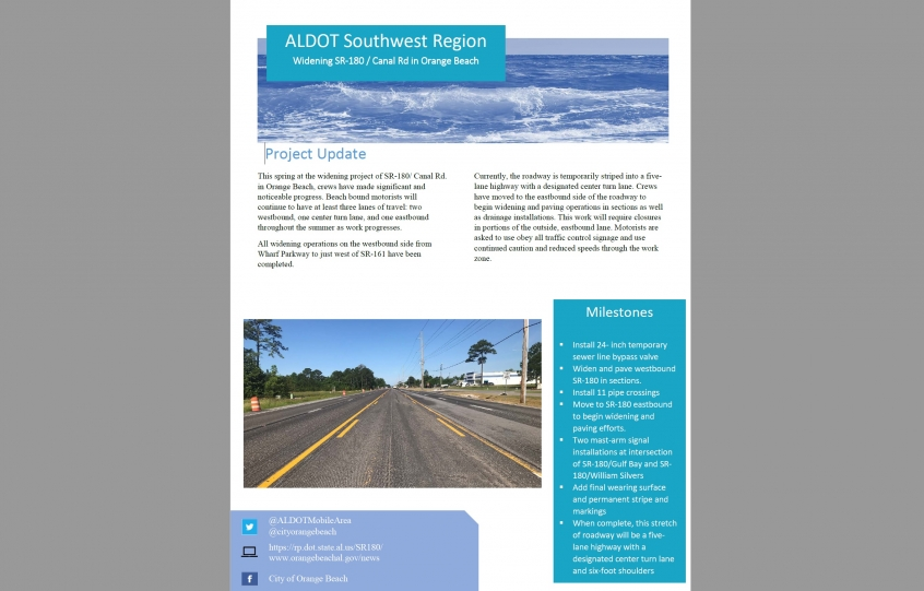 ALDOT Spring 2020 Newsletter for Canal Road Widening Project