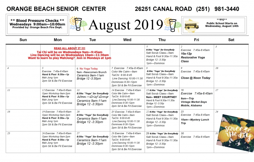 Orange Beach Adult/Senior Activity Center August 2019 Excursions and Events