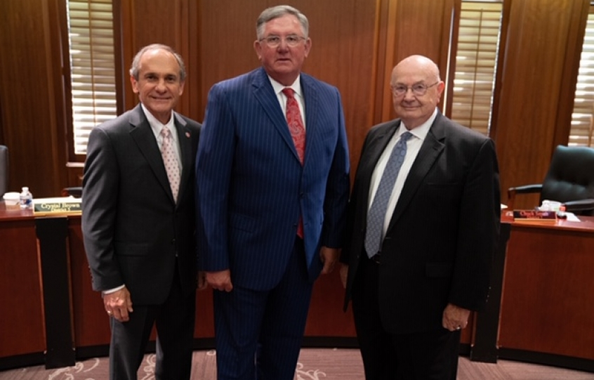 ACCS Board Chairman Al Thompson, Coastal Alabama Community College President Craig Pouncey, and ACCS Chancellor Jimmy H. Baker at the September 11, 2019 board of trustees meeting.