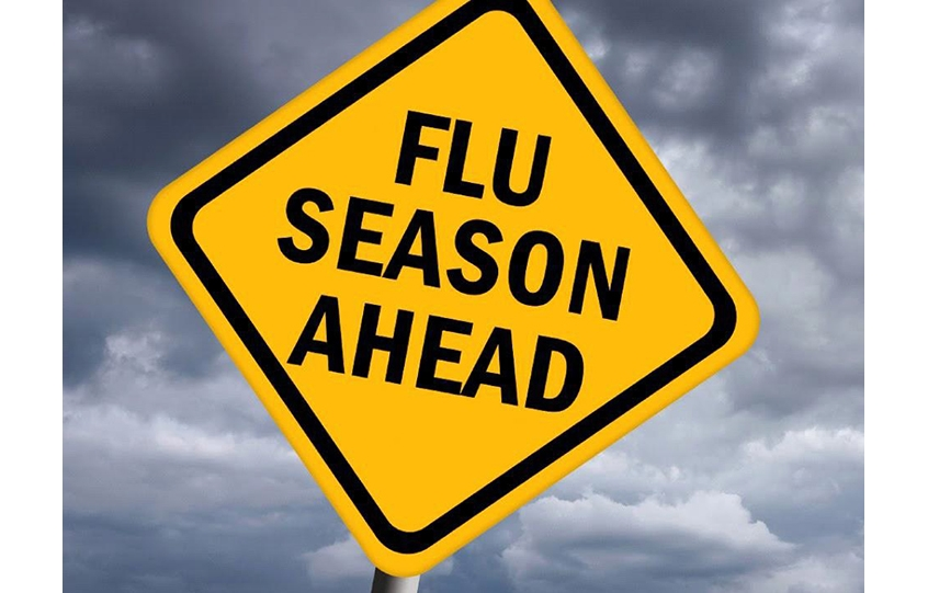 Flu Season Ahead sign promoting clinic at OB Senior Center on September 7, 2018