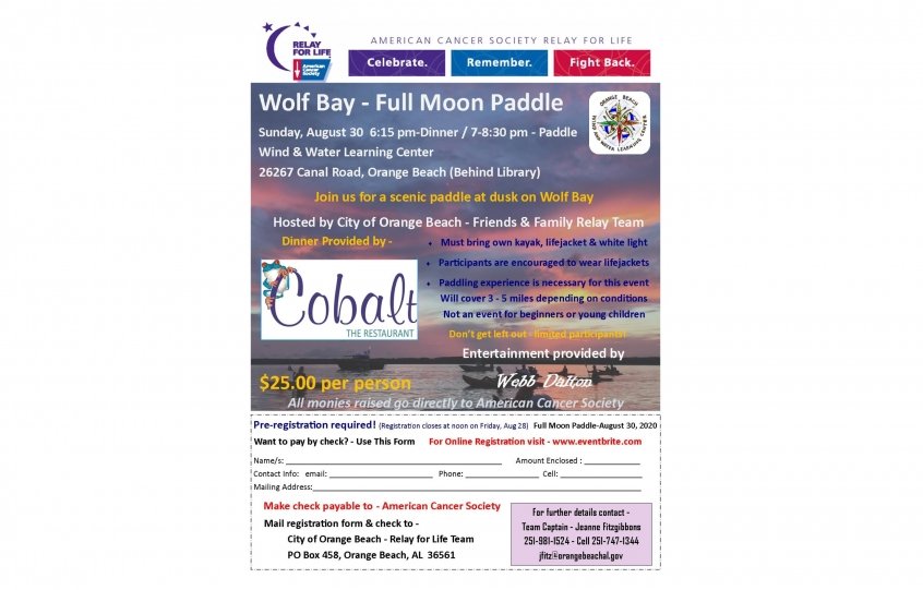 Full Moon Paddle Flyer - August 30, 2020