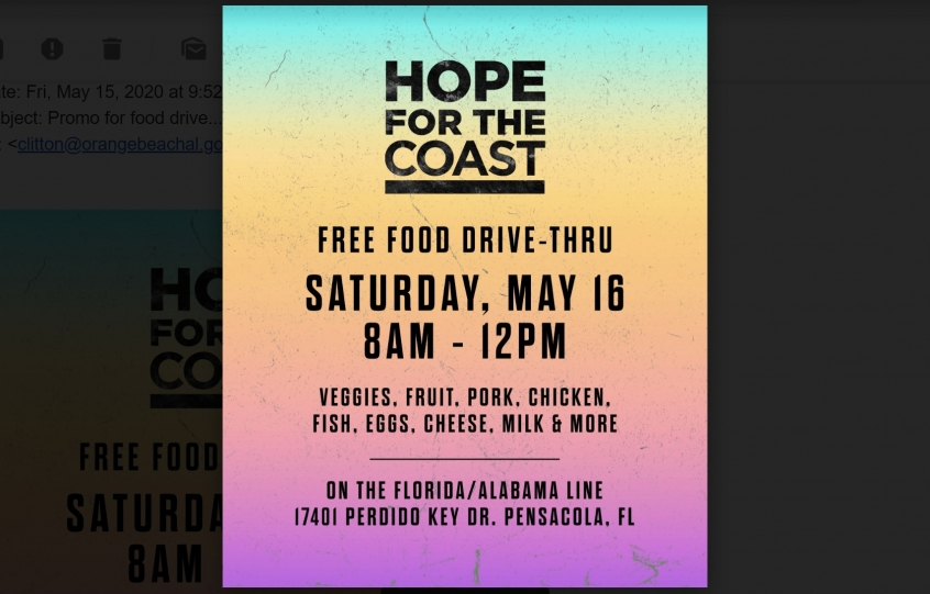 Hope for the Coast, a free food drive-thru, returns Saturday, May 16 at Flora-Bama
