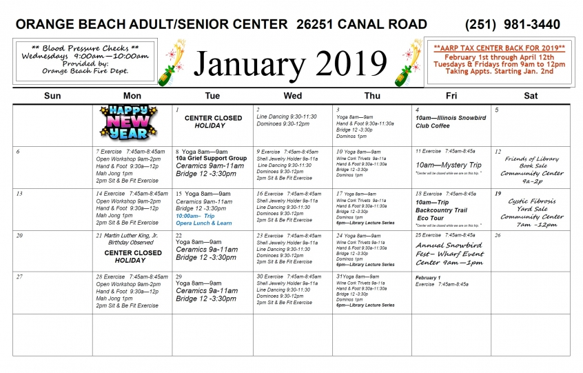 January 2019 Senior Center Calendar
