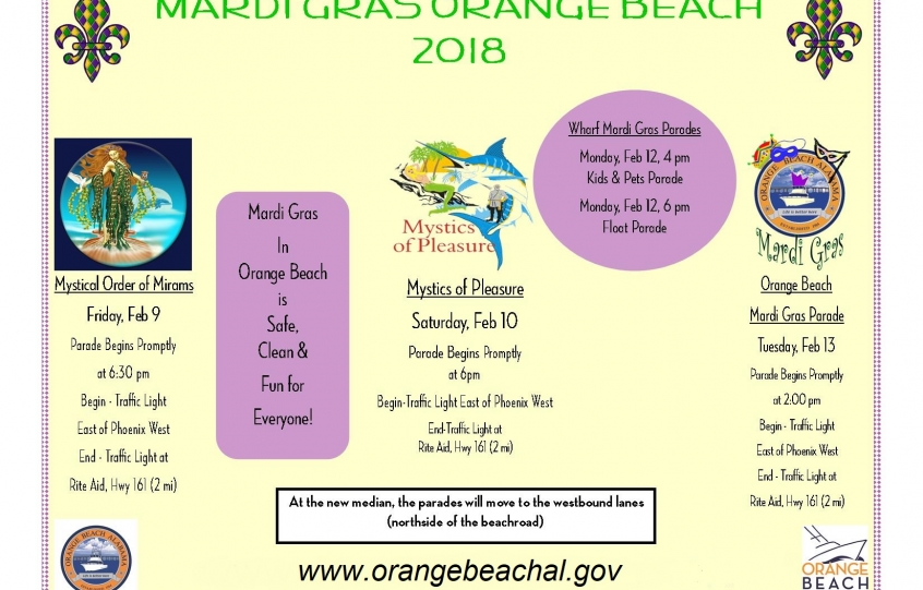 Orange Beach Mardi Gras parades flyer