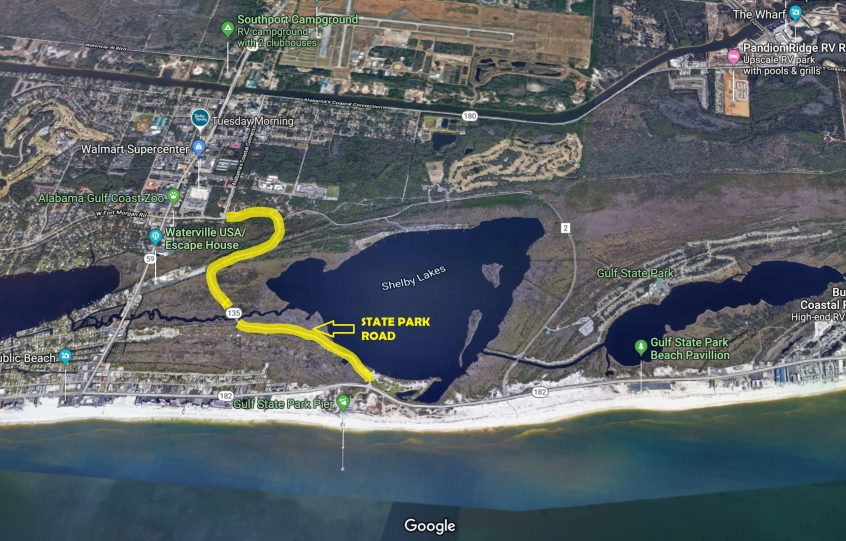 State Park Road, highlighted in yellow on map, reopens in Gulf State Park PUBLISH DATE *