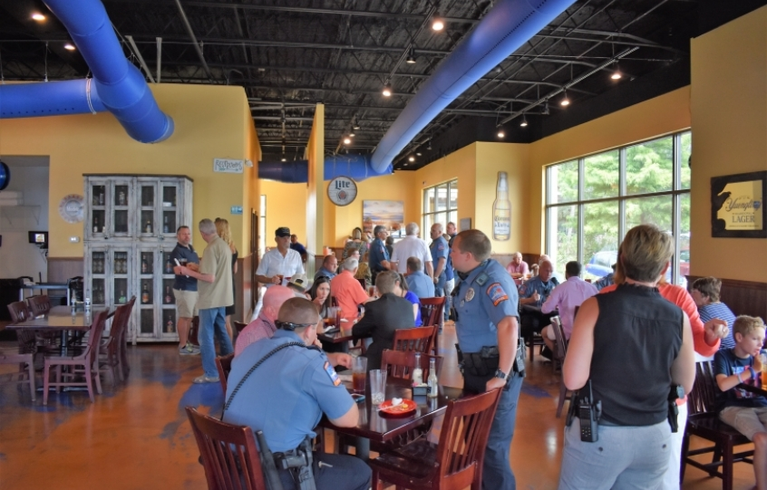 Members of the OBPD meet with members of the public at Tacos with the Five-O