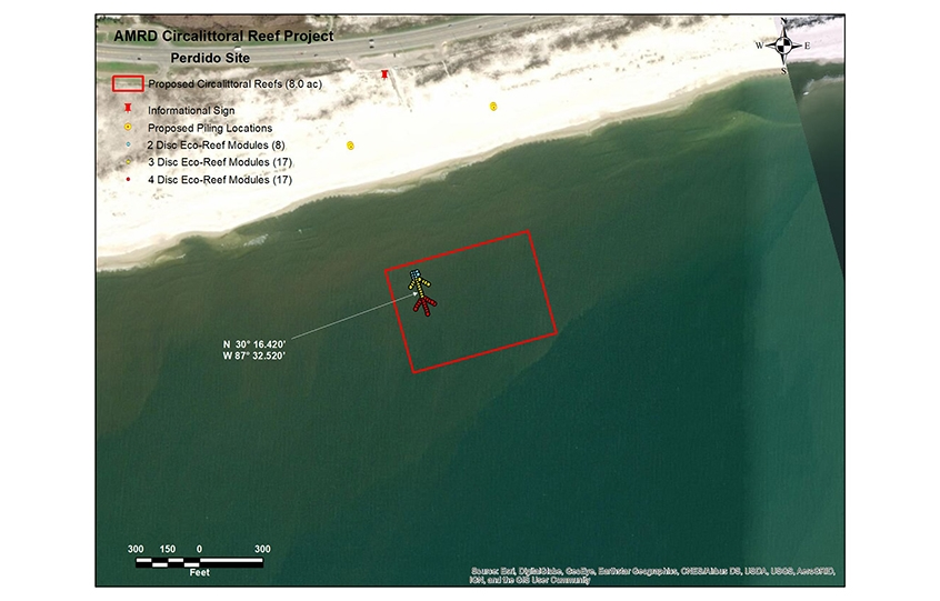 New nearshore reefs in Orange Beach - site map for shell beach near Alabama Point