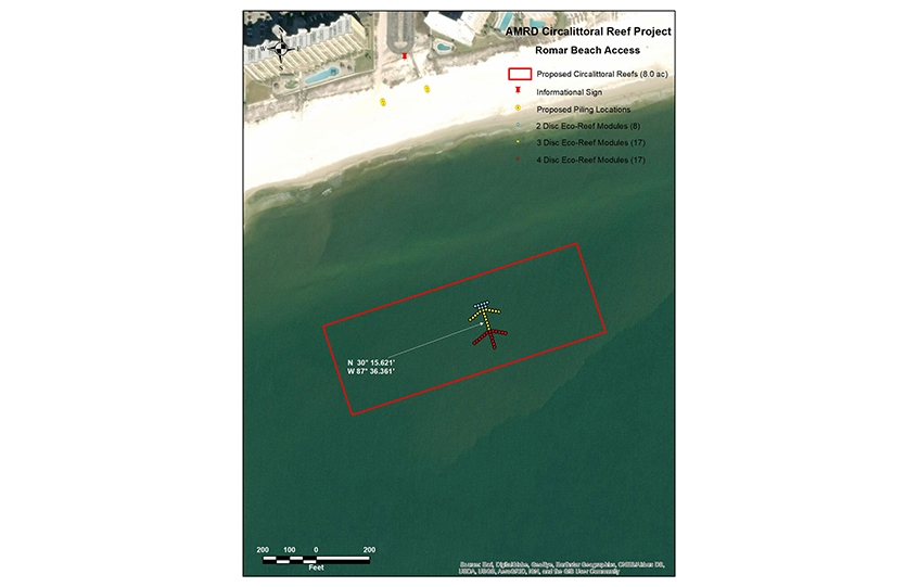 New nearshore reefs in Orange Beach - site map for location off Romar Beach