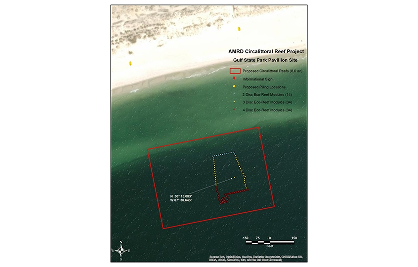 New nearshore reefs in Orange Beach - site map for location off Beach Pavilion