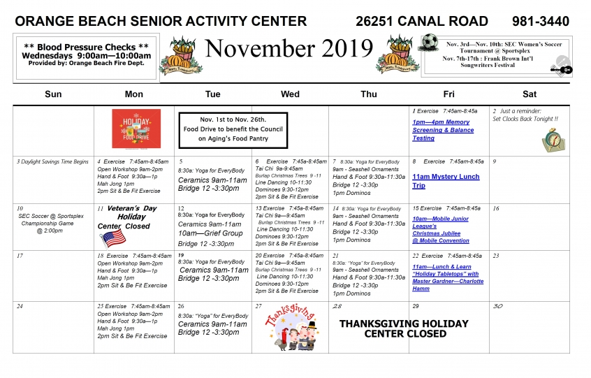 Senior Activity Center November 2019 Excursions and Events