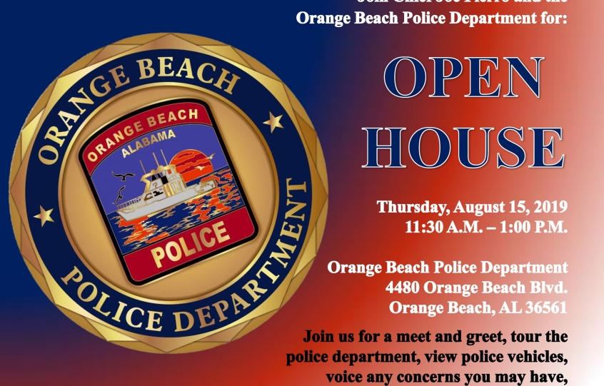 Graphic announcing an Open House at the Orange Beach Police Department on August 15th