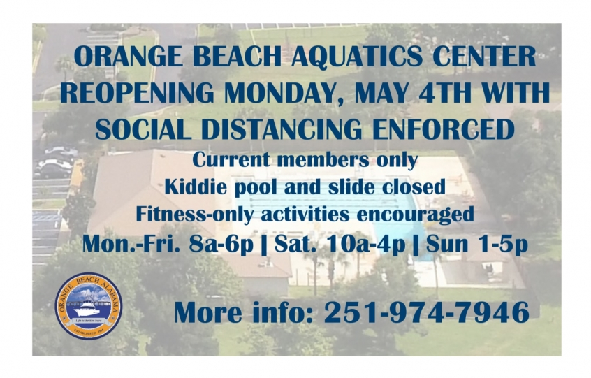 Aquatics Center to open on Monday, May 4th with limitations
