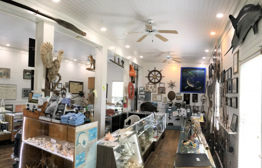Interior of the Orange Beach Indian and Sea Museum that houses local artifacts and memorabilia relating to the area's Native American and fishing heritage