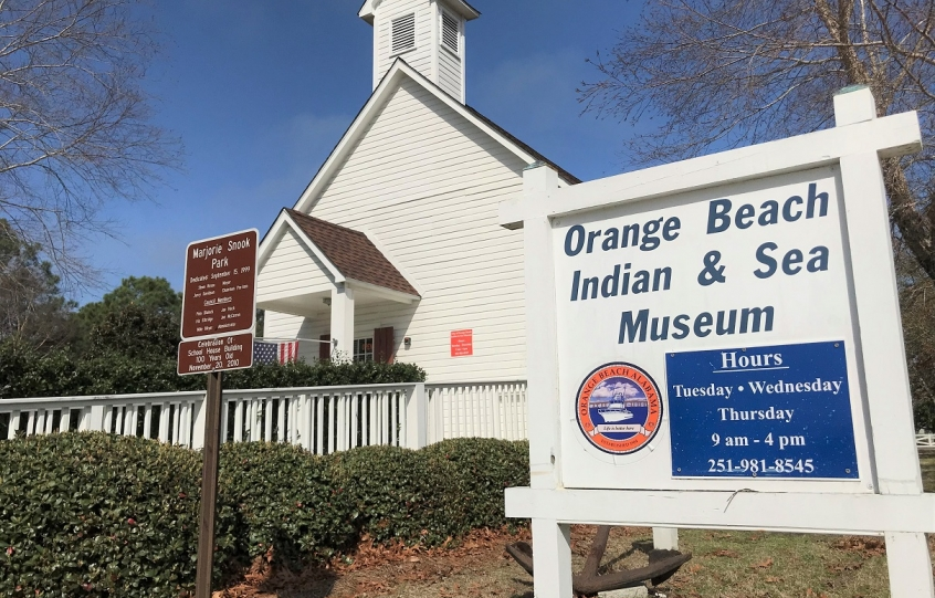 Exterior of the Orange Beach Indian and Sea Museum, which is the original 1910 schoolhouse that was the first school in the community of Orange Beach