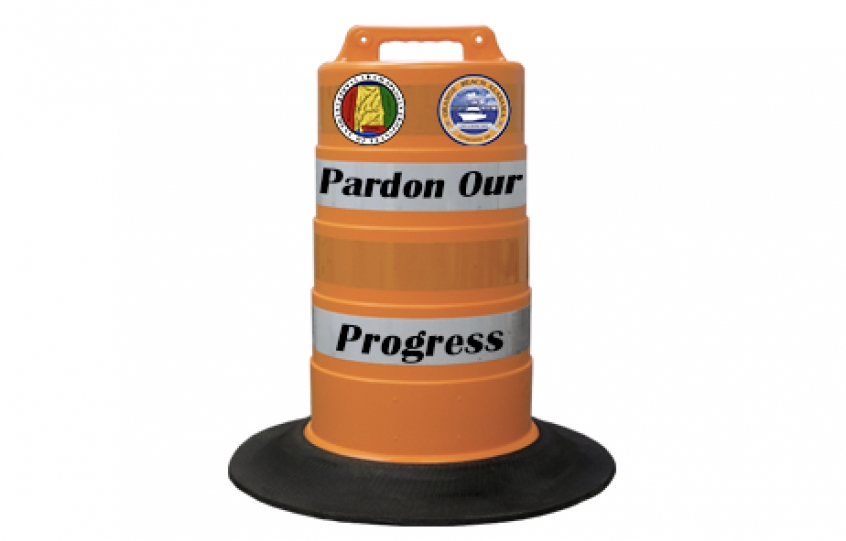 Pardon Our Progress graphic to go with Canal Road lane closure announcement