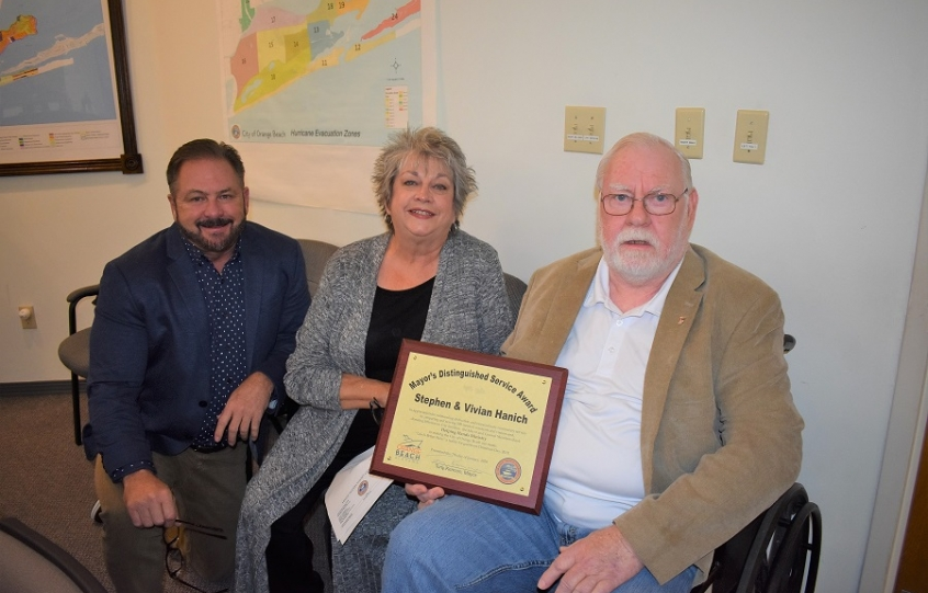 Stephen and Vivian Hanich of Helping Hands Ministry recognized by City of Orange Beach