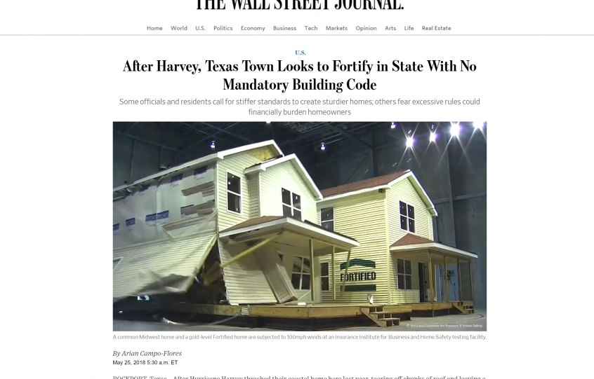 WSJ article about Fortified building standards