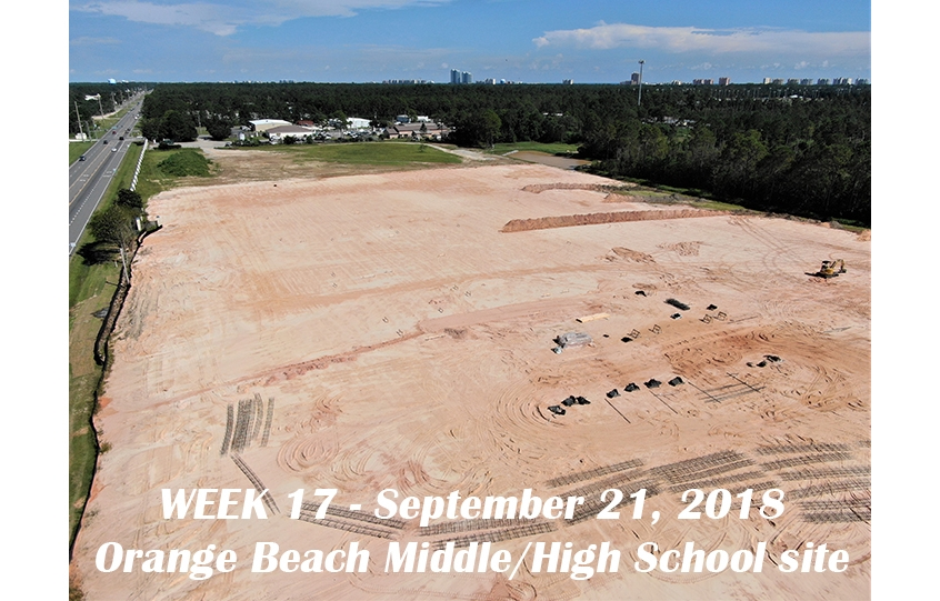 Week 17 aerial photo of Orange Beach school construction site, September 21, 2018
