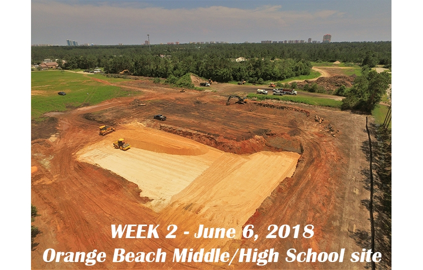 Week 2 aerial photo of Orange Beach school construction site, June 6, 2018
